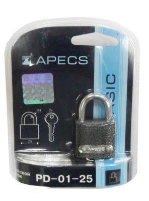 Замок навесной Апекс PD-01-25-Blister чугун,порош покр,резин кольца,авт,3анг кл